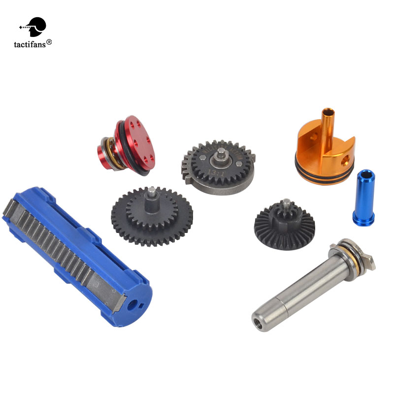 Tactifans 13:1/16:1 Super High Speed Gear 14 Teeth Piston Full tune up kit for G36 Cylinder Piston Head Spring Guide Nozzle m4 ver 2 aeg airsoft accessories high speed gear piston head spring guide nozzle cylinder 13 1 16 1 18 1 200 100 300 100 cnc