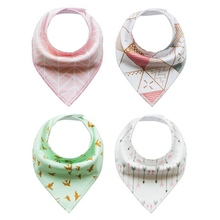 4pcs Sets Multi function Kids Baby Bibs Saliva Towel Arrow Animal Cartoon Burp Cloths Triangle Cotton