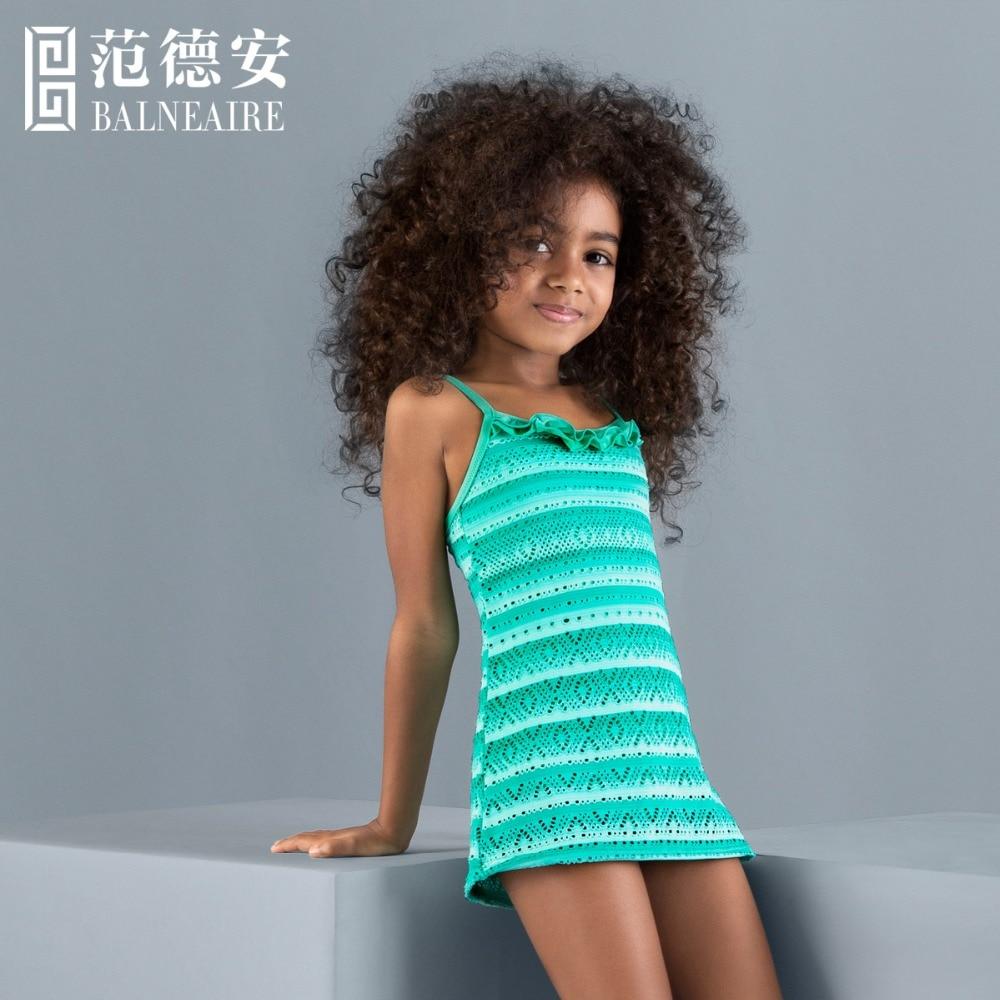 Blaneaire Girls Beach Dress Kids Swimwear 3 12 Year Old Swimsuit Free Shippinggreen Fringe -9355
