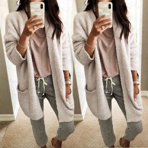 a79ac188aa0 2018 New Women Winter Woolen Sweater Coat Baggy Cardigan Coat Long Chunky  Knit Oversized Sweater Lady Fashion Casual Warm Coat