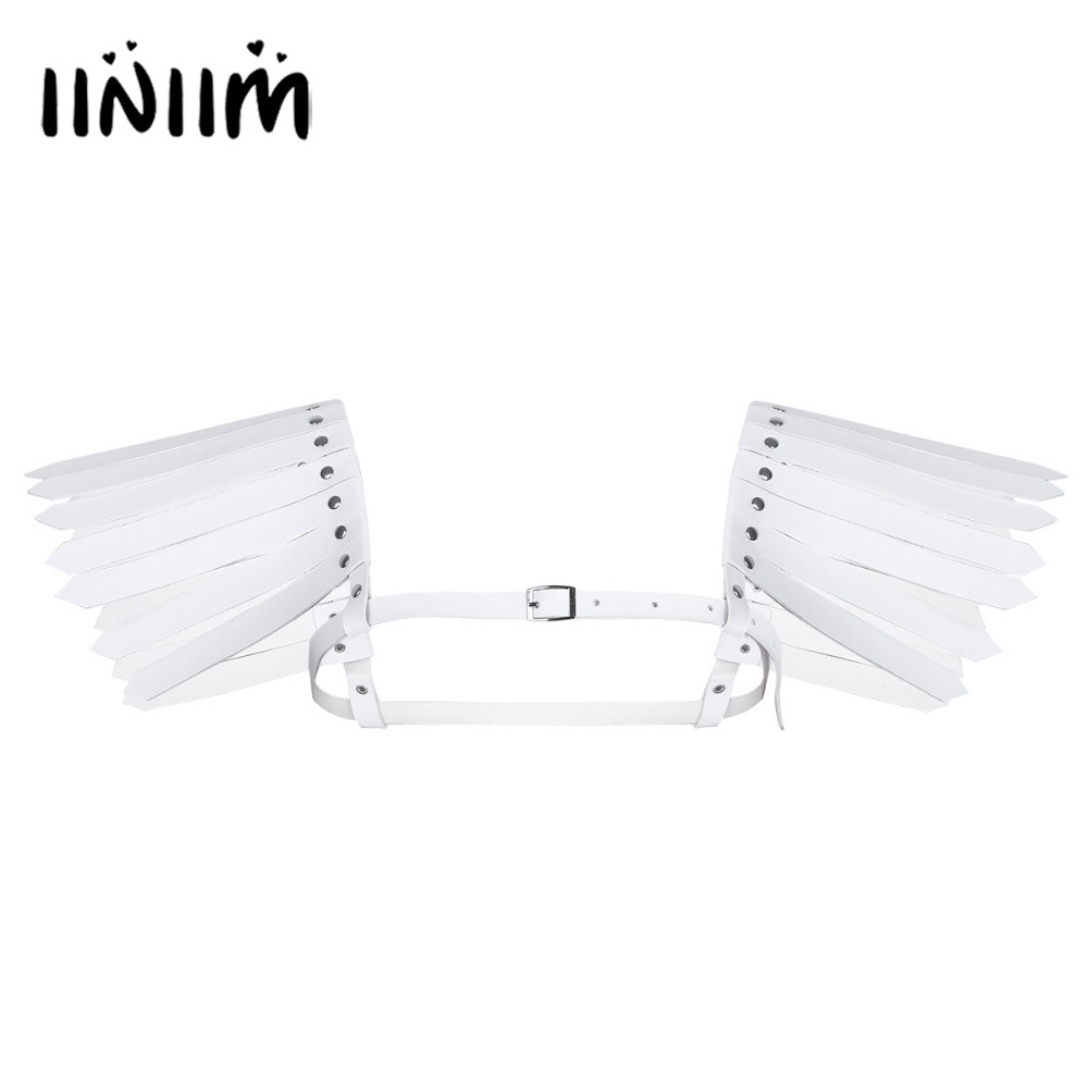 4 Color Fashion Costume Belt Unisex Faux Leather Adjustable Body Chest Harness Belt Strap with Feather Shoulder and Metal Rivets