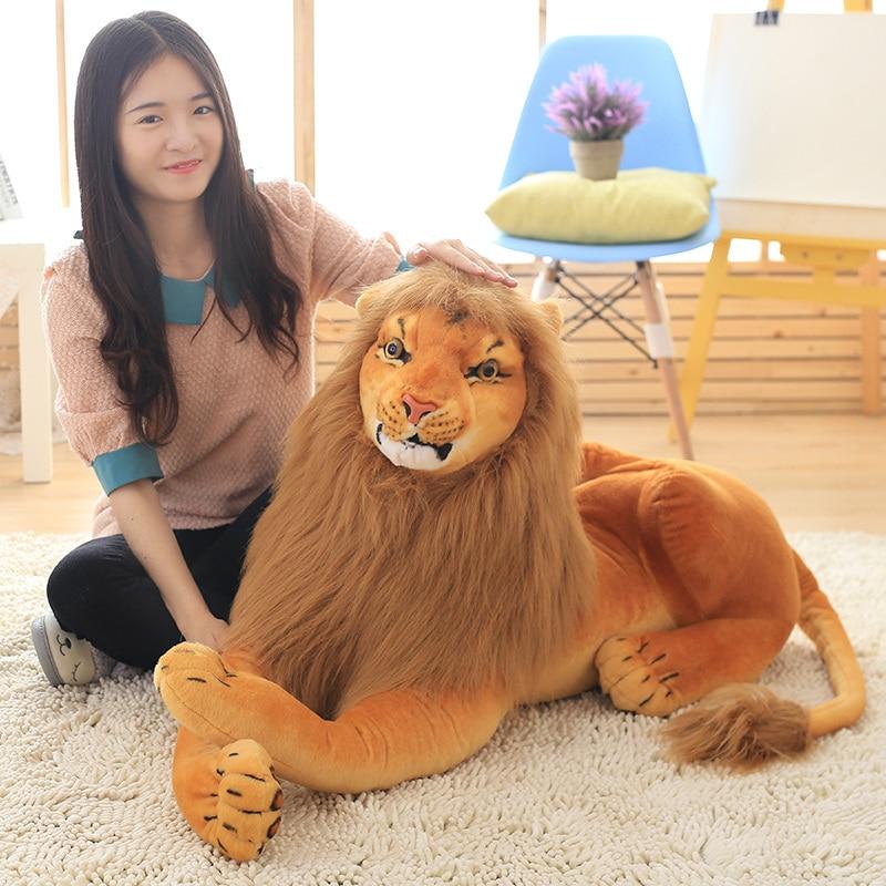 1pc 30-90cm Lifelike Lion Plush Toys For Children Kids Cute Animal Doll Cartoon Stuffed Toy Birthday Gift Home Decor