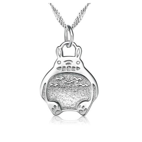 925 Sterling Silver Cute Totoro Necklace