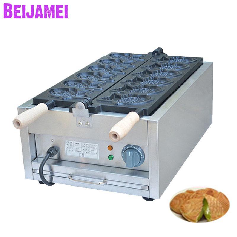 BEIJAMEI High Efficiency Electric Fish Shape Taiyaki Waffle Maker Commercial Korea Taiyaki Fish Cake Machine For