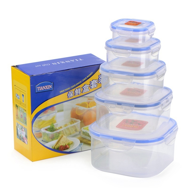 Kitchen Plastic Microwave Food Box Set Transparent Food Container