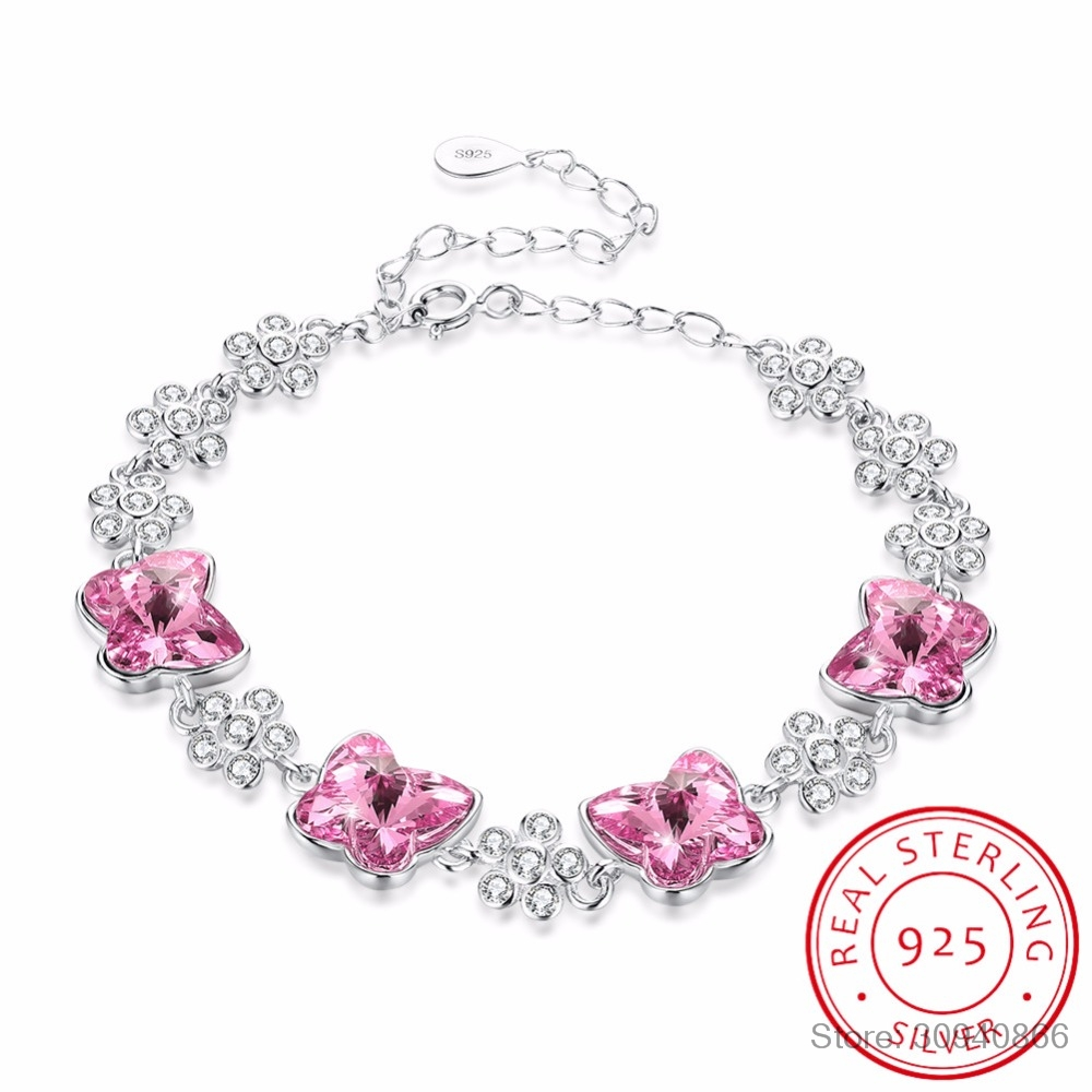 LEKANI Original Crystals From SWAROVSKI Butterfly Charm Bracelet Bangles Beads Accessories For Women 925 Silver Fine Jewelry