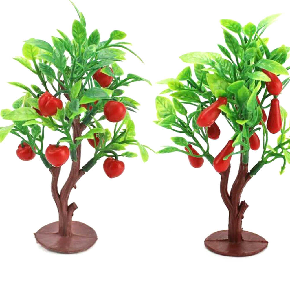 Plastic 2pcs 10cm Fruit Tree Model Railway Park Layout Scenery Dollhouse Decoration Random Send