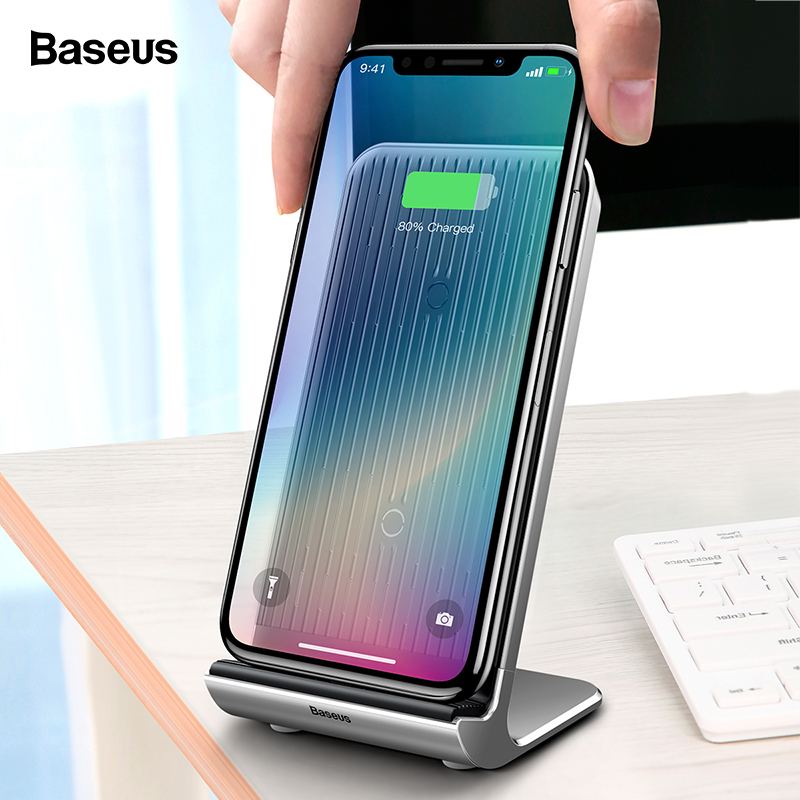 Baseus Wireless-Charger Dock-Station Charging-Pad Desktop Note-9 Samsung iPhone X Qi