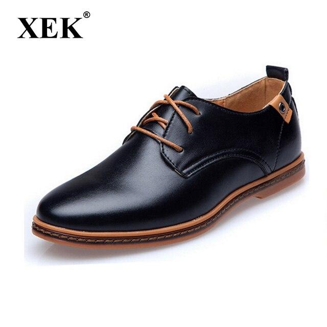 Novo 2017 Homens Sapatos de Couro Casual Lace-up Sapatos de Couro artificial  Preto Marrom 39056f0deb7ec