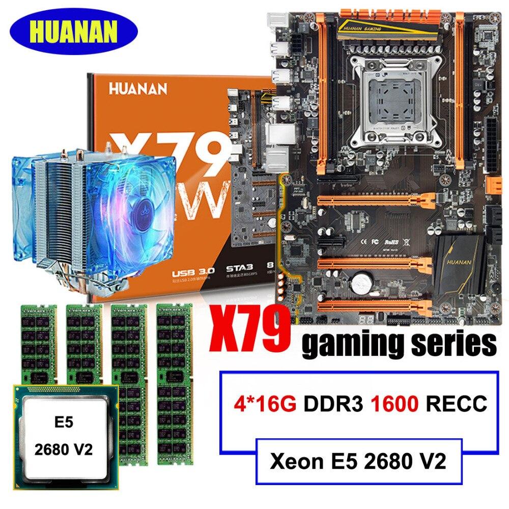 Marca recomendada huanan Deluxe X79 juegos placa Xeon E5 2680 V2 con refrigerador Ram 64G (4*16 g) 1600 MHz DDR3 recc todo probado