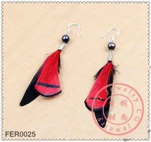 Free Shipping !! 10pcs/lot, Tempted Hot Flame Beads Feather Earring In Black Red Tone Silver Hook Boho Style For Prom