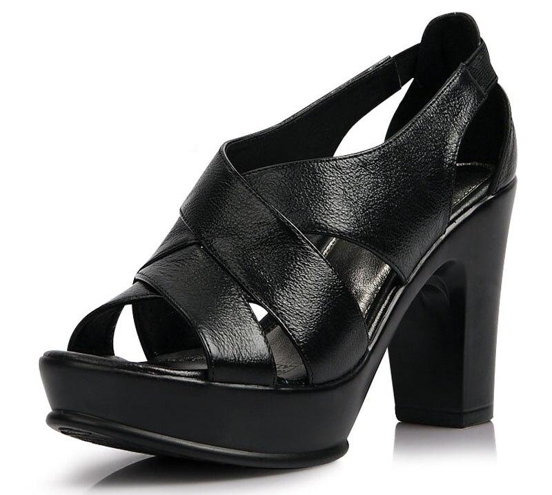 Women Genuine leather sandals thick high heels platform sandals Rome style black sandals fot women in summer size 35-40