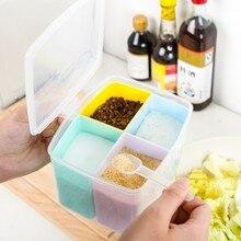Free shipping BF050 Multifunction kitchen seasoning box  tank 4pcs/set 11.5*12*11cm