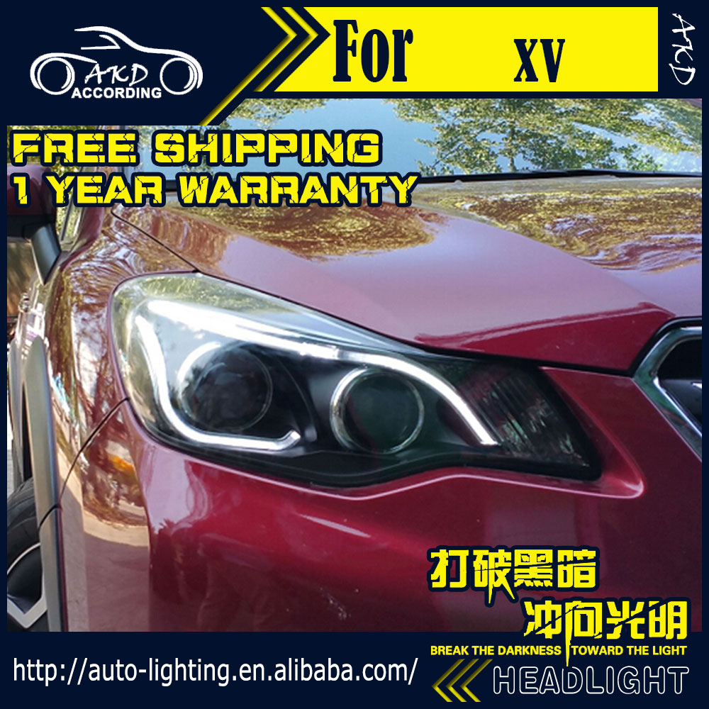 AKD Car Styling Headlight Assembly for Subaru XV Headlights Bi Xenon LED Headlight LED DRL HID Option Front Lamp Accessories car styling for subaru xv led headlights 2012 2015 for xv head lamp angel eye led drl front light bi xenon lens xenon hid kit