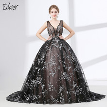 Vintage Black Saudi Arabic Evening Dress Long 2017 New Arrival Puffy Ball Gown V Neck Lace Beaded Women Formal Evening Prom Gown(China)