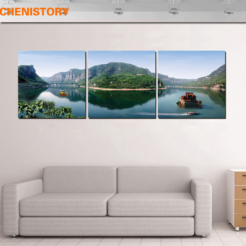 unframed 3 panel mountain lake boat pastoral scenery modern print wall art picture home wall. Black Bedroom Furniture Sets. Home Design Ideas
