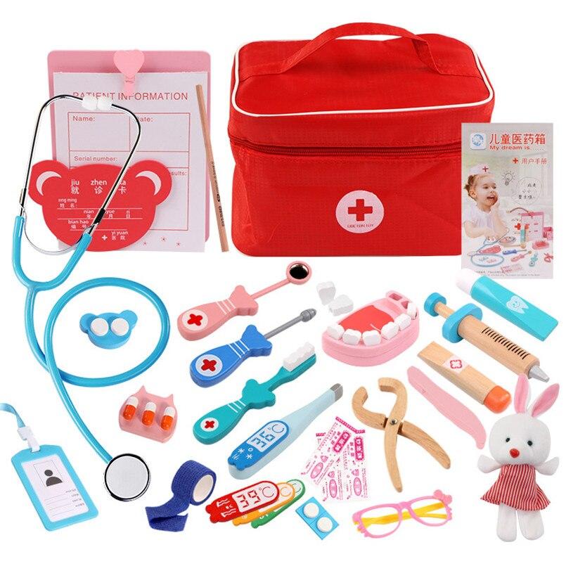 Holz Arzt Set Spielzeug Für Kinder Kinder Zahnarzt Medizin Box Medicina Accesorios Pretend Spielen Spielzeug Nurse Arzt Kit Mädchen Geschenke