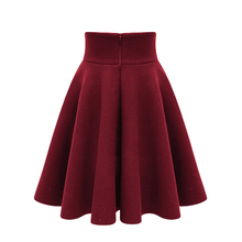 Women Wool Skirt 2017 Autumn Warm Winter High Waist thicken Pleated A Line Slim Womens Midi Skirts With Lining Faldas Saia Longa