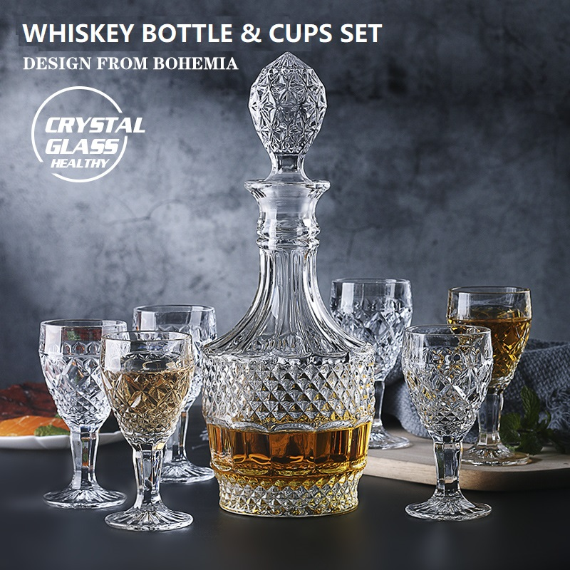 Cristal verre vin rouge bouteille + tasses vin décanteur whisky bohême Liqour verseur maison Bar Vodka bière bouteille pot cruche JR