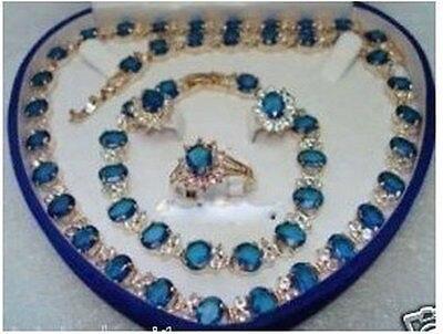 Blue Stone Sapphire Set collier Bracelet boucles d'oreilles anneau AAA 18 K GP plaqué or de mariée large montre ailes reine JEWE