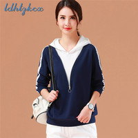 2018 Autumn Ladies New Fashion Hooded Hoodies Royal Blue Korean Loose Casual Long Sleeve Hooded Hoodies Elegant Chic Hoodies 103