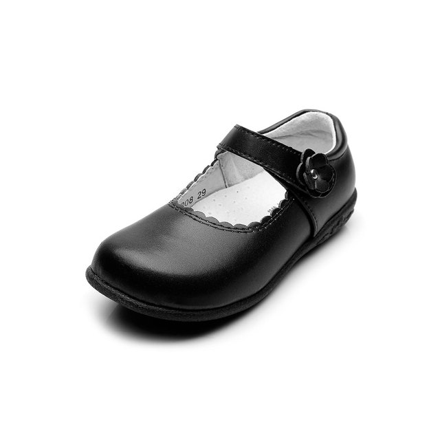 Msmax Genuine Leather Children School Shoes Girls Round Toe Simple