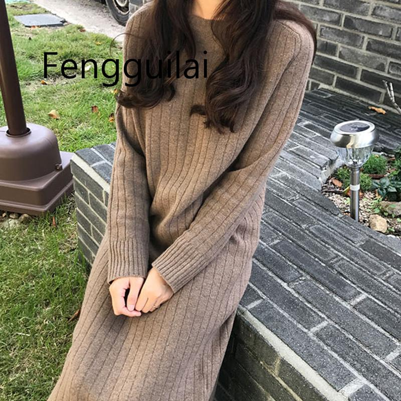 FENGGUILAI PLUS Knitted Bottom dress Autumn  Winter Dress Large Size Womens Appearance Slender Over Knee