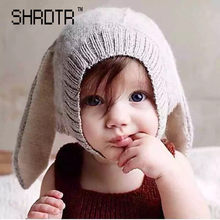 Winter children warm hat long rabbit ear thickening knitted hat cute baby wool hat wholesale