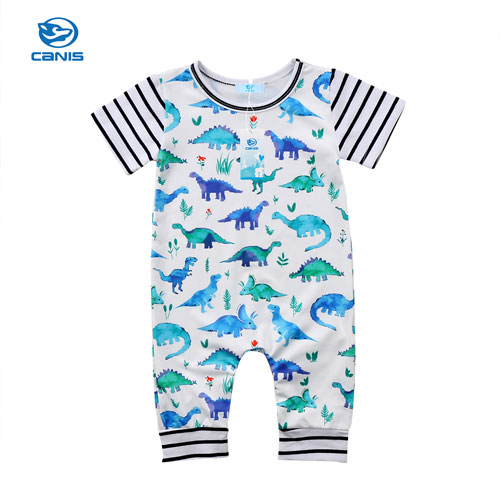Baby Boys Clothes Baby Boy Cotton Short Sleeve Rompers Dinosaur Striped Romper Baby Boy Summer Clothes New 3pcs set newborn infant baby boy girl clothes 2017 summer short sleeve leopard floral romper bodysuit headband shoes outfits