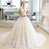 Vestido de noiva Off the Shoulder Lace Beaded Vintage Bride Marriage Wedding Dresses 2019 Wedding Gown Custom Made GT04