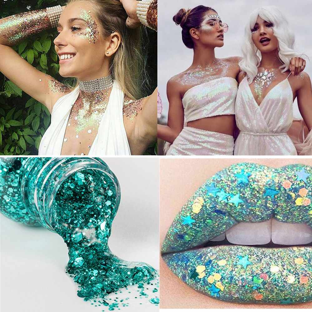 Handaiyan 8 cores corpo glitter gel festival gitter maquiagem para os olhos lábio rosto cabelo shinny lantejoulas creme festa compõem cosméticos