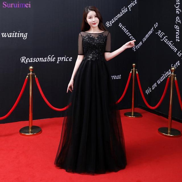 2018 New Arrival Black Beaded Sequines Evening Dresses Sheer ...