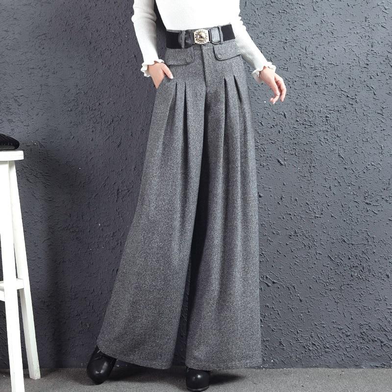 2018 New Autumn Winter Woolen   Wide     Leg     Pants   Long Trousers Women's High Waist Full Length   Pants   Plus Size Straight   Pants