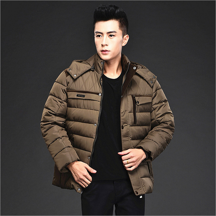 2016 winter new middle-aged business men thick padded collar big yards hooded solid fashion warm coat 100% cotton