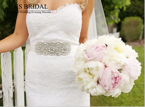 Free Shipping Gorgeous Handmade Dazzling Glass Crystal Rhinestone Czech Stones Bridal Belt Wedding Dress Waistband