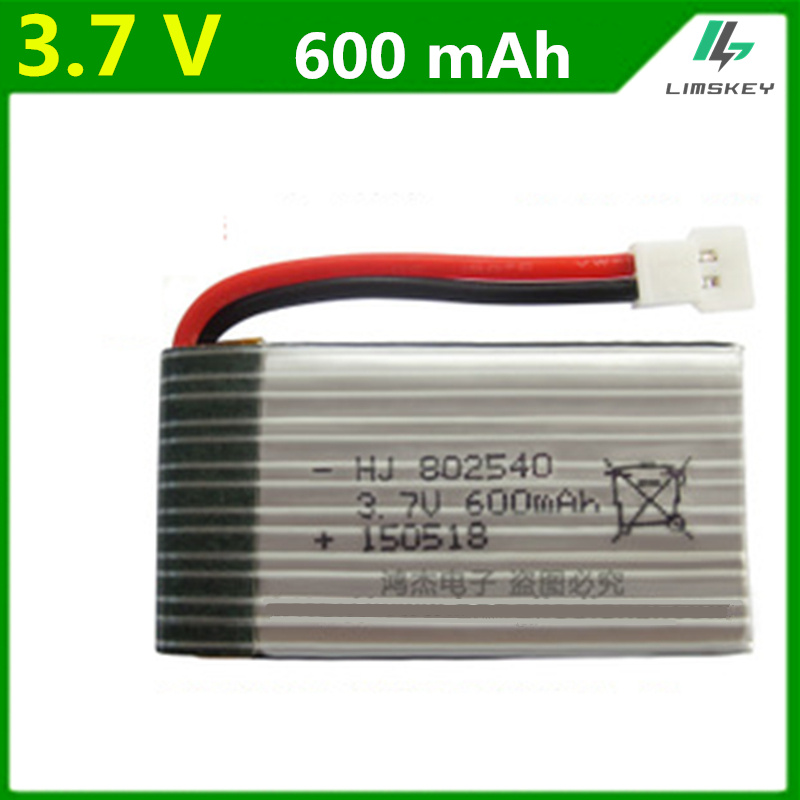 3.7V 600mAh Lipo battery For syma X5C M68 X705C quadrocopter 3.7 V 600 mAh Lipo battery 1s 802540 2pcs/lot image