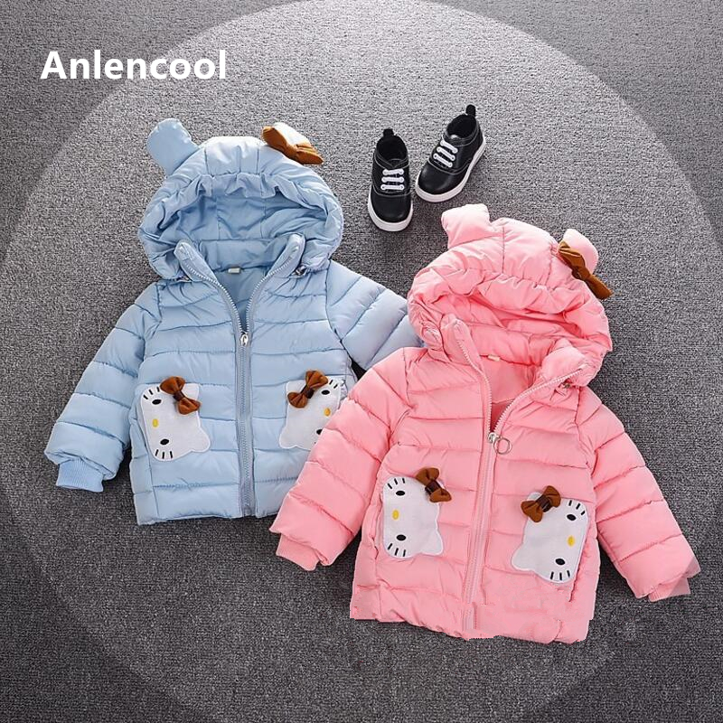 Anlencool 2018 winter kids girls in high-end children KT cat hand plug new cotton coat thickened cotton jacket Children clothing in the winter of 2015 the new cotton jacket mixed male clothing winter cotton thickened 5 color free delivery