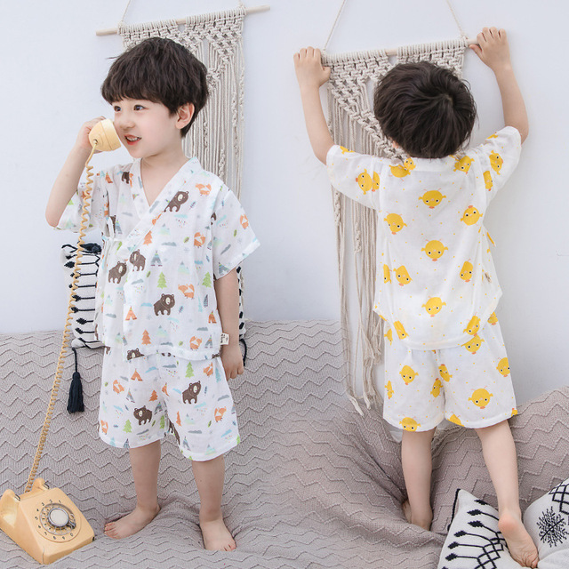 c14c80583e23 ... пижама с принтом утки девочек детские комплекты мал. Kids Boys Pajamas  Unisex Summer Clothes Girls Clothes Set Duck Print Girls Pajamas Japan  Style Kids