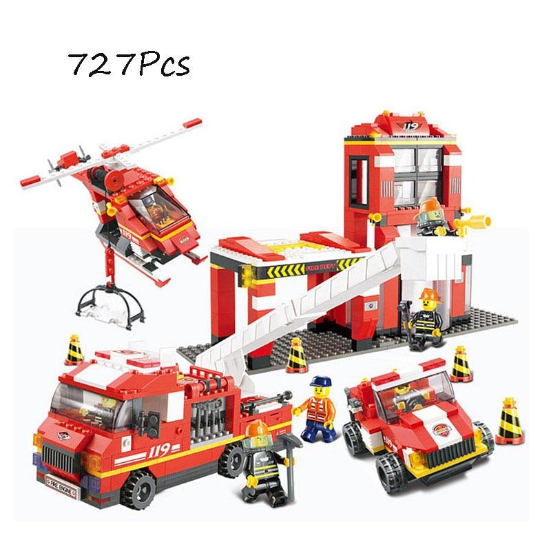 Model building kits   city fire 0227 727Pcs 3D blocks Educational model & building toys hobbies for children