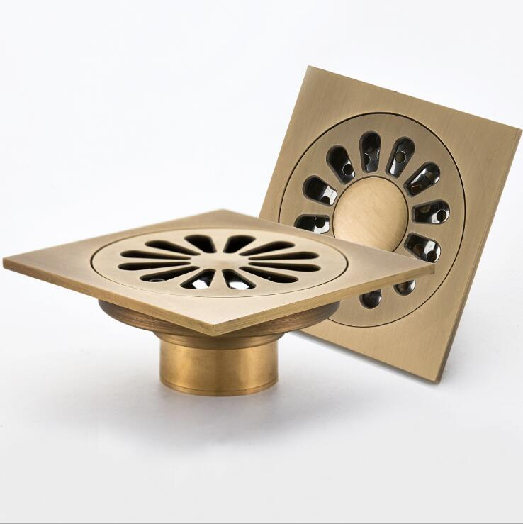 10*10cm Bathroom Antique Brass Floor Drain Shower Drainer Kitchen Waste Drain Bathroom Trap Waste Grate With Hair Strainer бумага крепированная белый перламутр 50х250 см 28592 10
