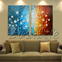 2 Piece Hand Painted Palette Knife White Tree Oil Painting Wall Art Canvas Picture Modern Abstract Home Decor Living Room Set 03