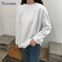 모든 경기 여성 패션 간단한 긴 소매 티셔츠 여성 오버 사이즈 캐주얼 하라주쿠 O 목 티 셔츠 Mujer 탑 T 셔츠 한국