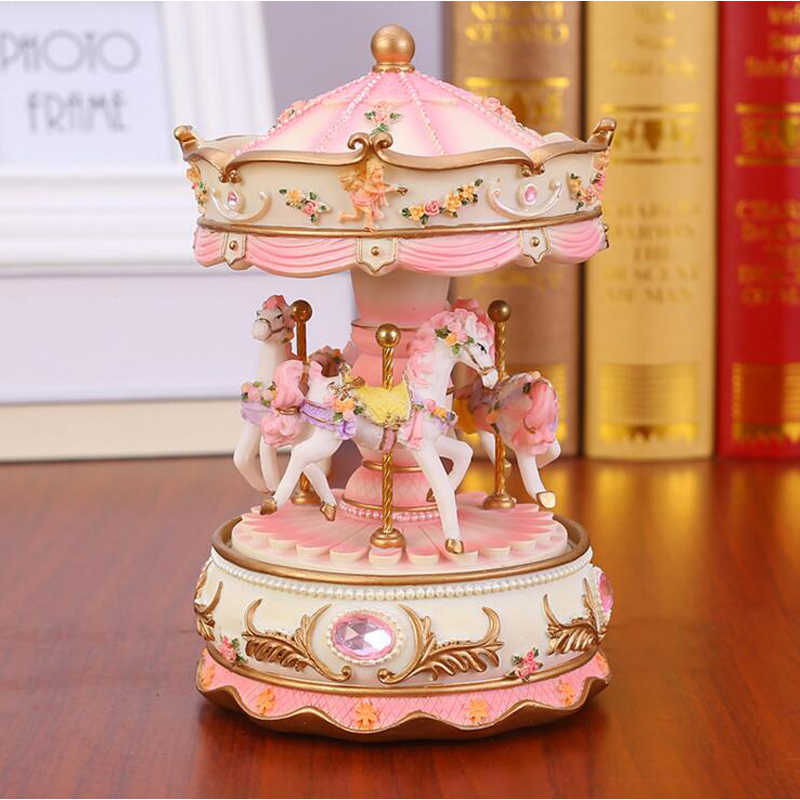 Flashing LED Light Resin Carousel Music Box Kids Girls Valentine's Day Birthday Christmas Gift Toy Wedding Home Decor Crafts