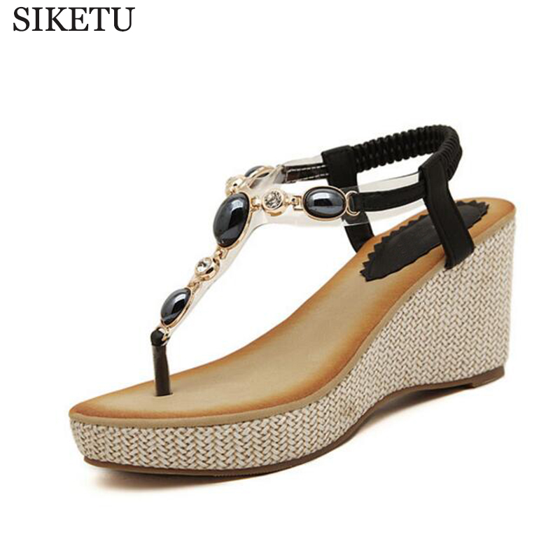 SIKETU 2017 sweet women shoes slope with Bohemian diamond clip toe sandals students sandals direct wholesale zapatos mujer s248 poadisfoo 2017 new ethnic women s shoes bohemian diamond slope with a large summer sandals zapatos mujer jxf 6662b