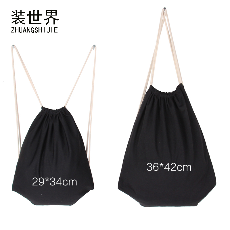 Black Travel Softback 10oz Cotton Canvas Drawstring Bag  Women  Backpack Girl Boy Storage Bags Christmas Gift School Bag
