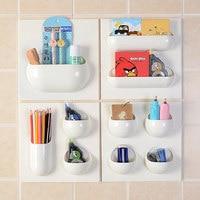 Creative Adhesive Wall Bathroom Makeup Organizer For Cosmetics Kitchen Storage Box Desktop Organizer