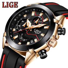 LIGE New Mens Watches Silicone Strap Top Brand Luxury Waterproof Sport Chronograph Quartz Wristwatch Watch Men Relogio Masculino relogio masculino guanqin mens watches top brand luxury fashion chronograph date quartz watch men sport leather strap wristwatch