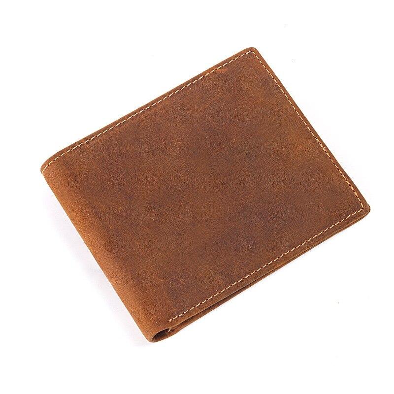 Men Wallet Purse Short Coin-Pocket Handmade Zipper Vintage Male Designer Genuine-Leather
