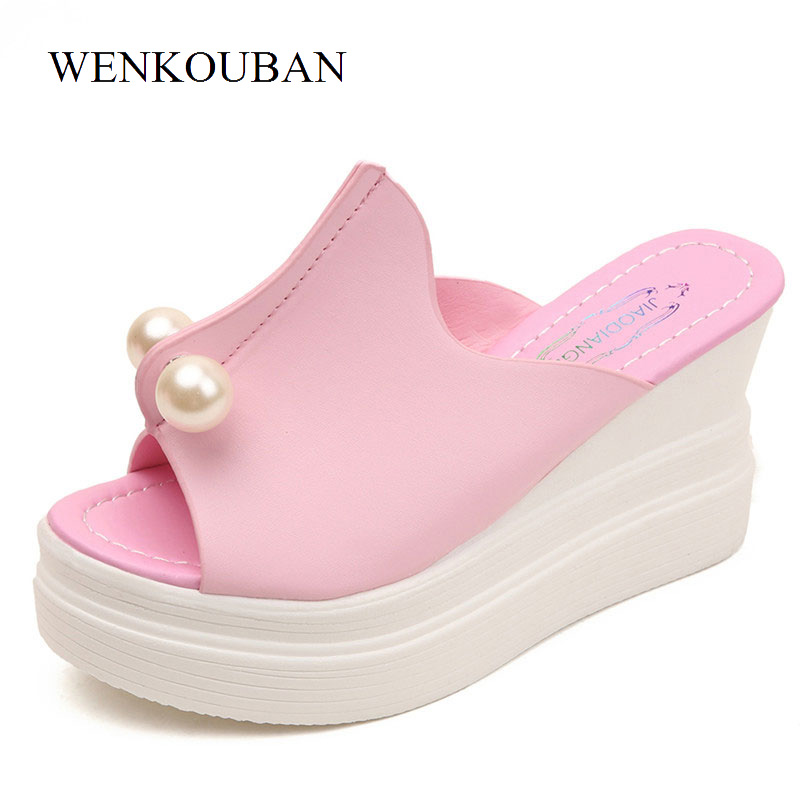 Designer Pearl Shoes Women Platform Slippers Summer Wedges Shoes Thick Heel Sandals Ladies Casual Slides White Zapatos Mujer summer women platform sandals wedges slippers rainbow thick heel sandals ladies shoes women summer shoes beach