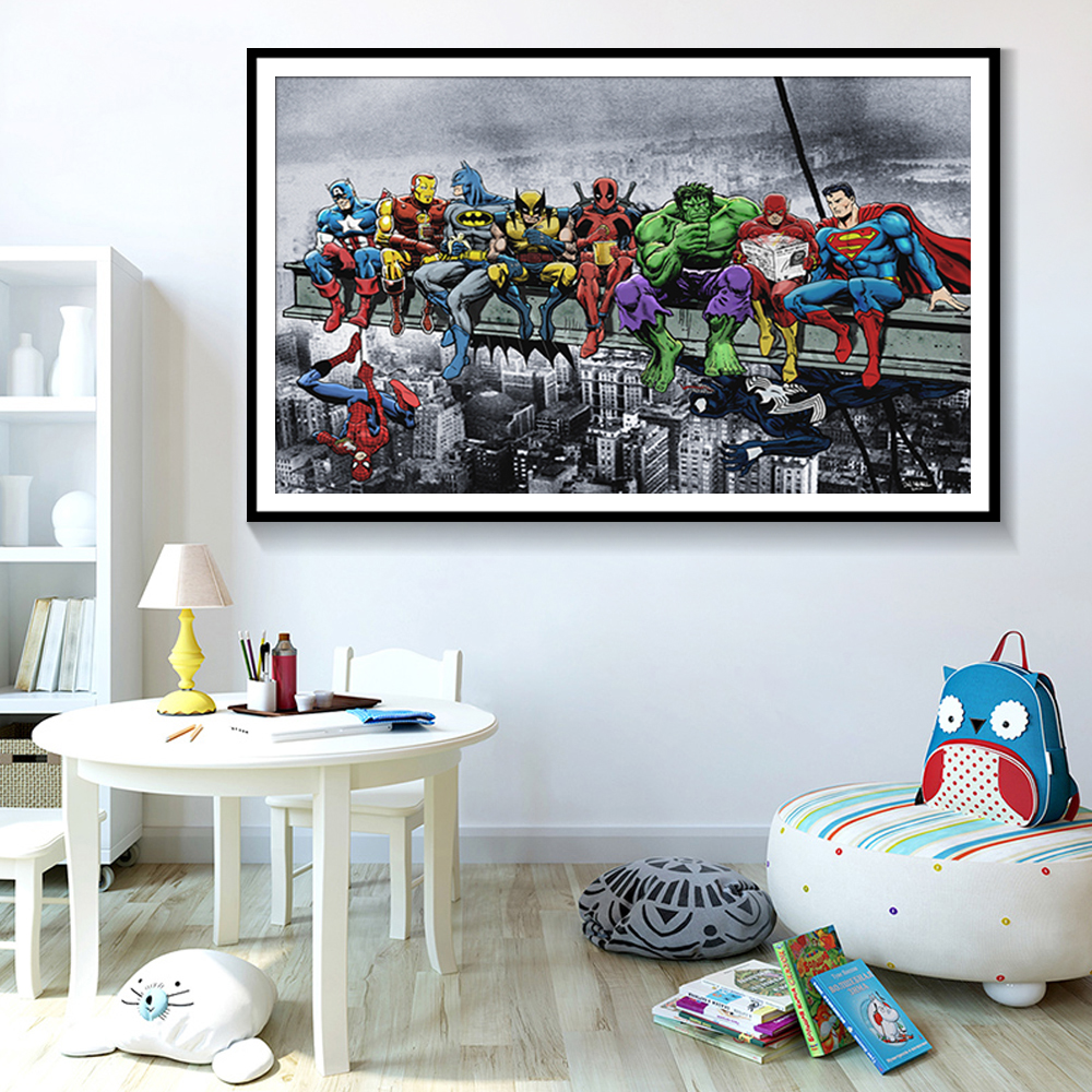 Superheros Marvel DC Comics Hot Movie Poster Wall Art Modern Home Decoration Canvas Painting Wall Pictures For Living Room image